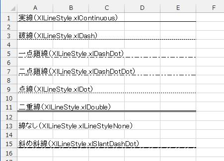 Excel罫線種類